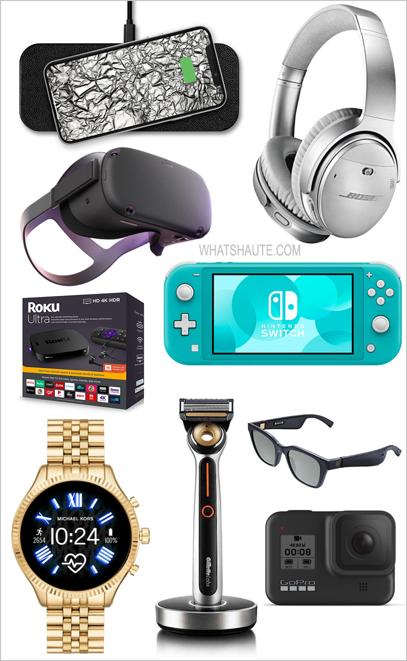 2019 Holiday Gift Guide: Tech Gifts for Tech Lovers, Gifts for Techies, Apple Watch Series 5, Biolite Fire Pit, Bose Audio Sunglasses, Bose Quiet Comfort 35 Wireless Noise-Cancelling Headphones II, Canon Ivy Wireless Mini Photo Printer, Courant Catch:2, Fitbit Versa 2 Smartwatch, GilletteLabs Heated Razor Starter Kit, GoPro Hero 8 Black 4K Waterproof Action Camera, Hydrow Live Outdoor Reality Rower, Michael Kors Access Lexington 2 Glitz Gold-Tone Bracelet Touchscreen Smartwatch, Nintendo Switch Lite, Oculus Quest All-in-one VR gaming headset, Power Beats Pro True Wireless In-Ear Earphones, Roku Ultra 4K Streaming Player, TheraGun G3 Percussive Therapy Device, Tile Pro with Replaceable Battery