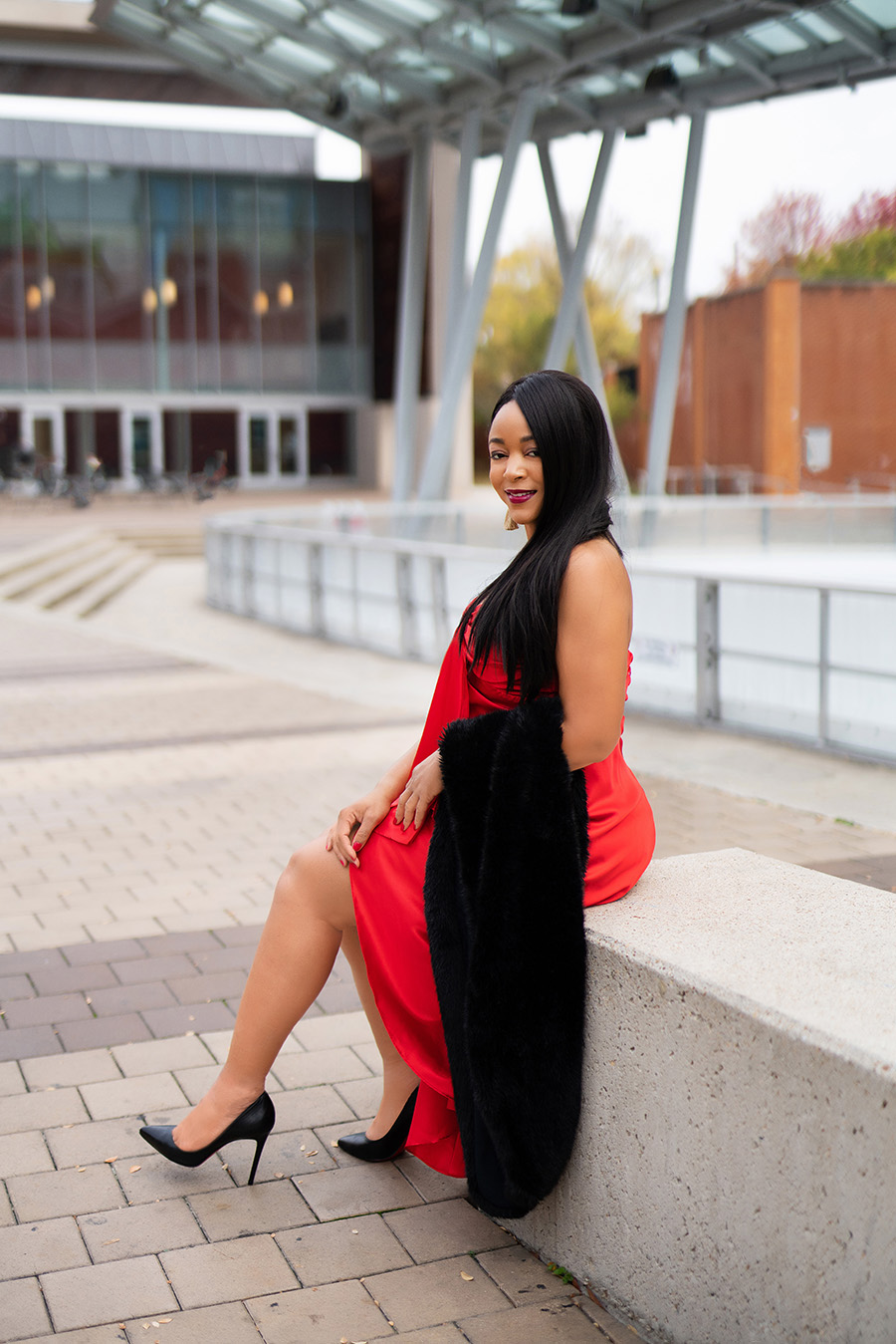 holiday outfit, What's Haute 2019 Holiday outfit ideas, 50 holiday looks, Coco Myles red satin high low dress, Christian Louboutin Pigalle pumps, Zara faux fur scarf, H&M gold fringe earrings