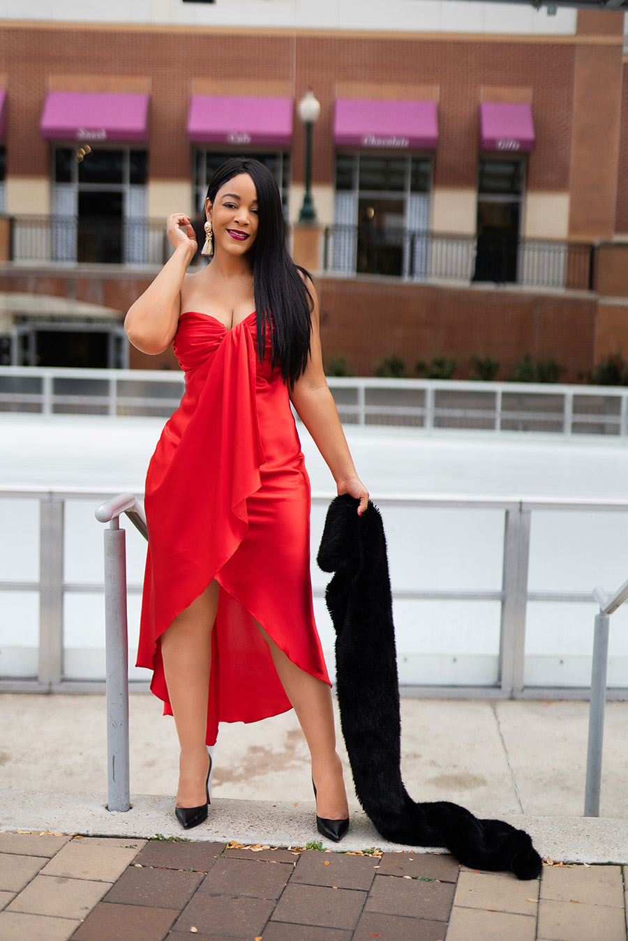 holiday outfit, What's Haute 2019 - 50 Holiday outfit ideas, 50 holiday looks, Coco Myles red satin high low dress, Christian Louboutin Pigalle pumps, Zara faux fur scarf, H&M gold fringe earrings