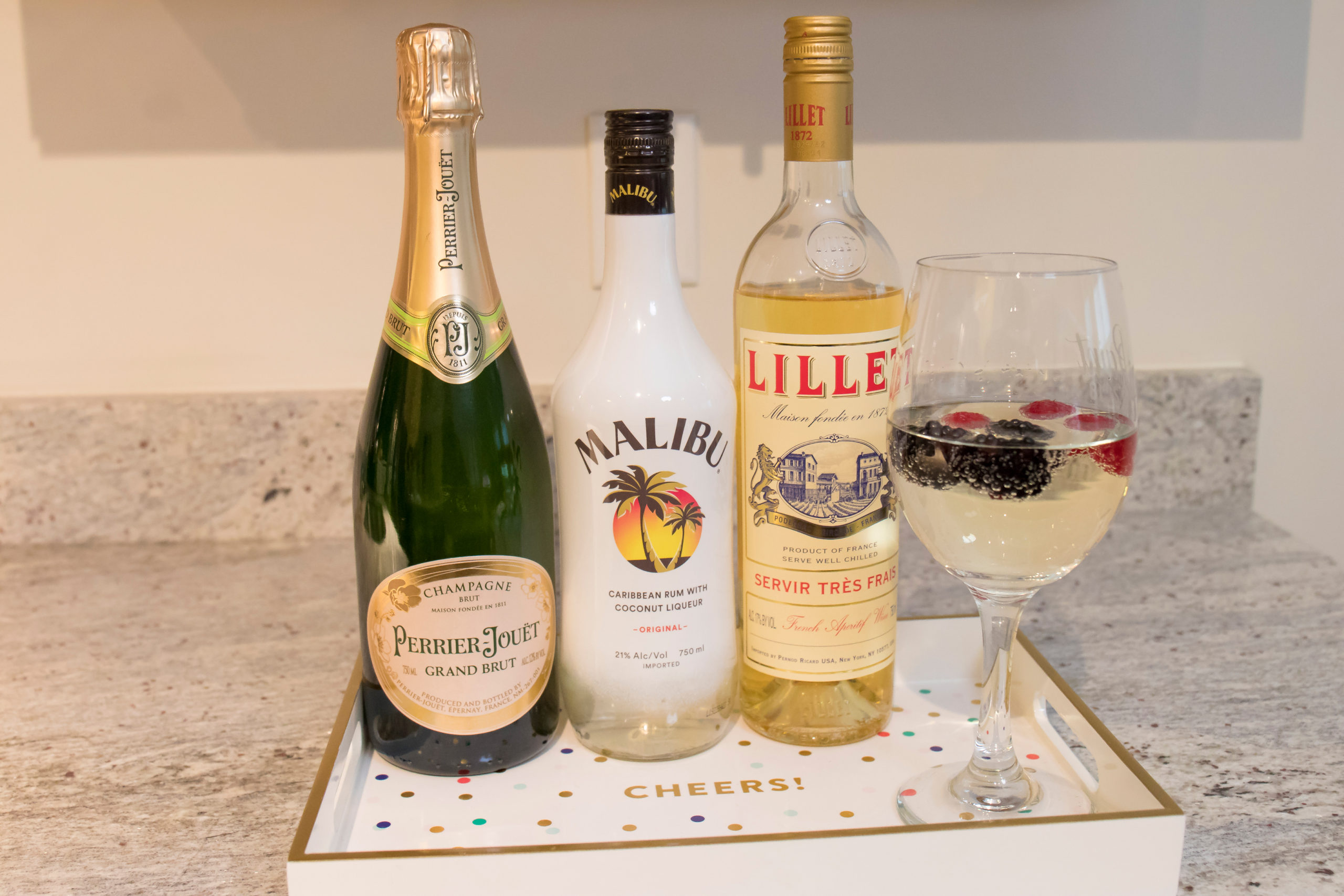 Drizly and What's Haute, holiday drink ideas, Perrier Jouet, Malibum rum, Lillet wine