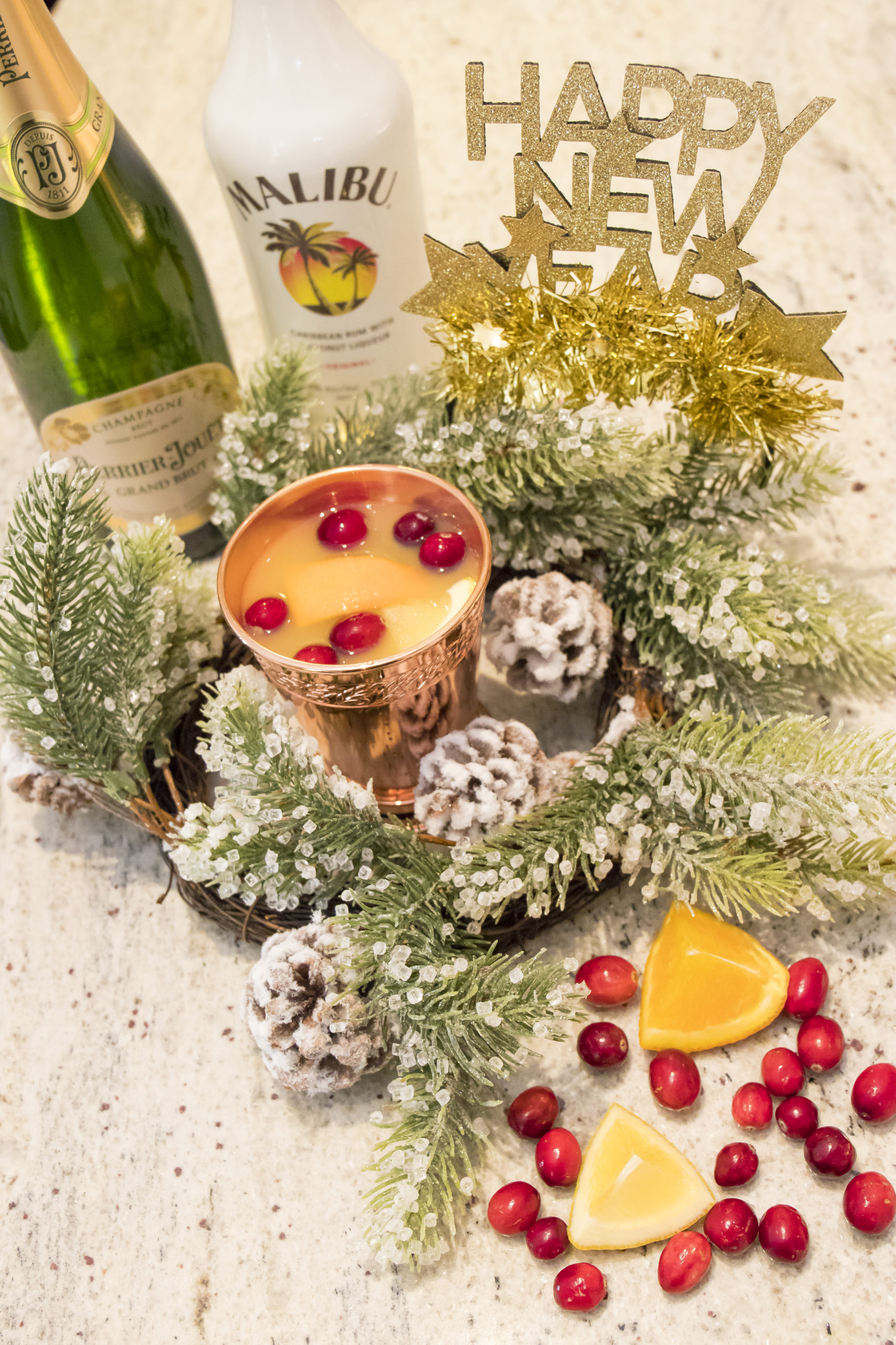Drizly and What's Haute, holiday drink ideas, Perrier Jouet, Malibum rum, sparkling holiday rum punch