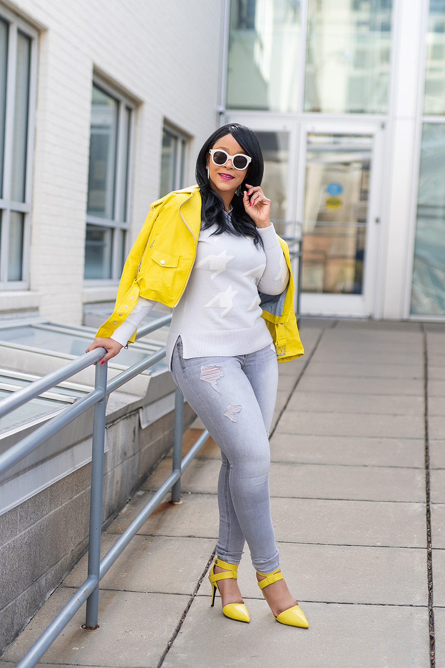 How to Get Unstuck from a Creative Rut, What's Haute, motivation, creative outfits, Zara yellow Leather Biker Jacket, Banana Republic Houndstooth Sweater, Express jeans, Alexander Wang heels