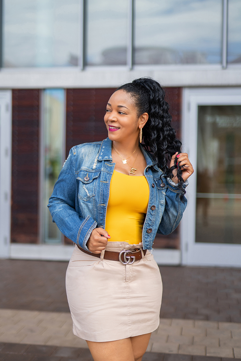 10 Things You Didn't Know About Me, What's Haute, What I'm Wearing: Distressed denim jacket, bamboo letter necklace, Gucci belt, khaki paperboy skirt, Zara yellow tank top