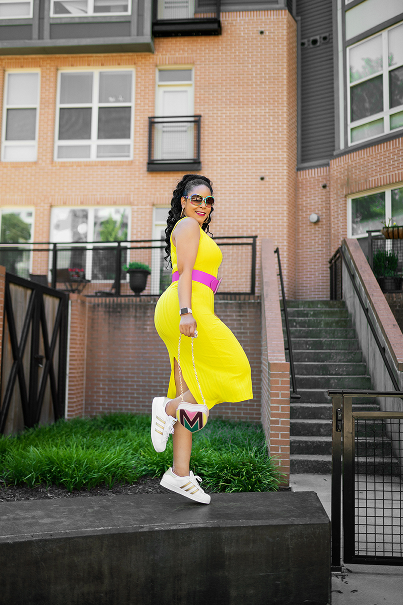 Making the Most of this Pandemic Summer — What I'm Wearing: Matthew Williamson for H&M sunglasses, H&M Electric yellow dress, H&M Pink belt, Adidas White and Gold Superstar Sneakers