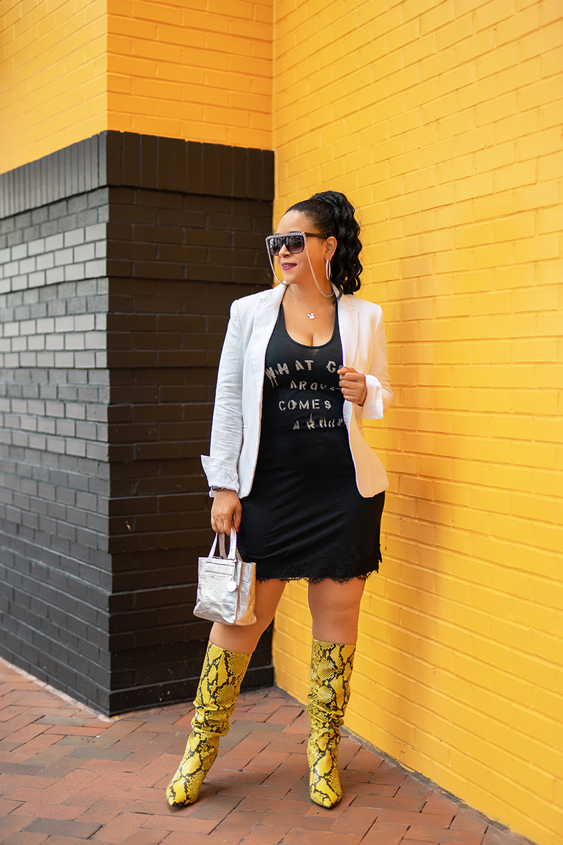 What Goes Around Comes Around, What I'm Wearing, Sunglasses with silver chain, H&M White Blazer, What Goes Around Comes Around Slip Dress, Nine West Maxim Heel Boots in Yellow Snake Print