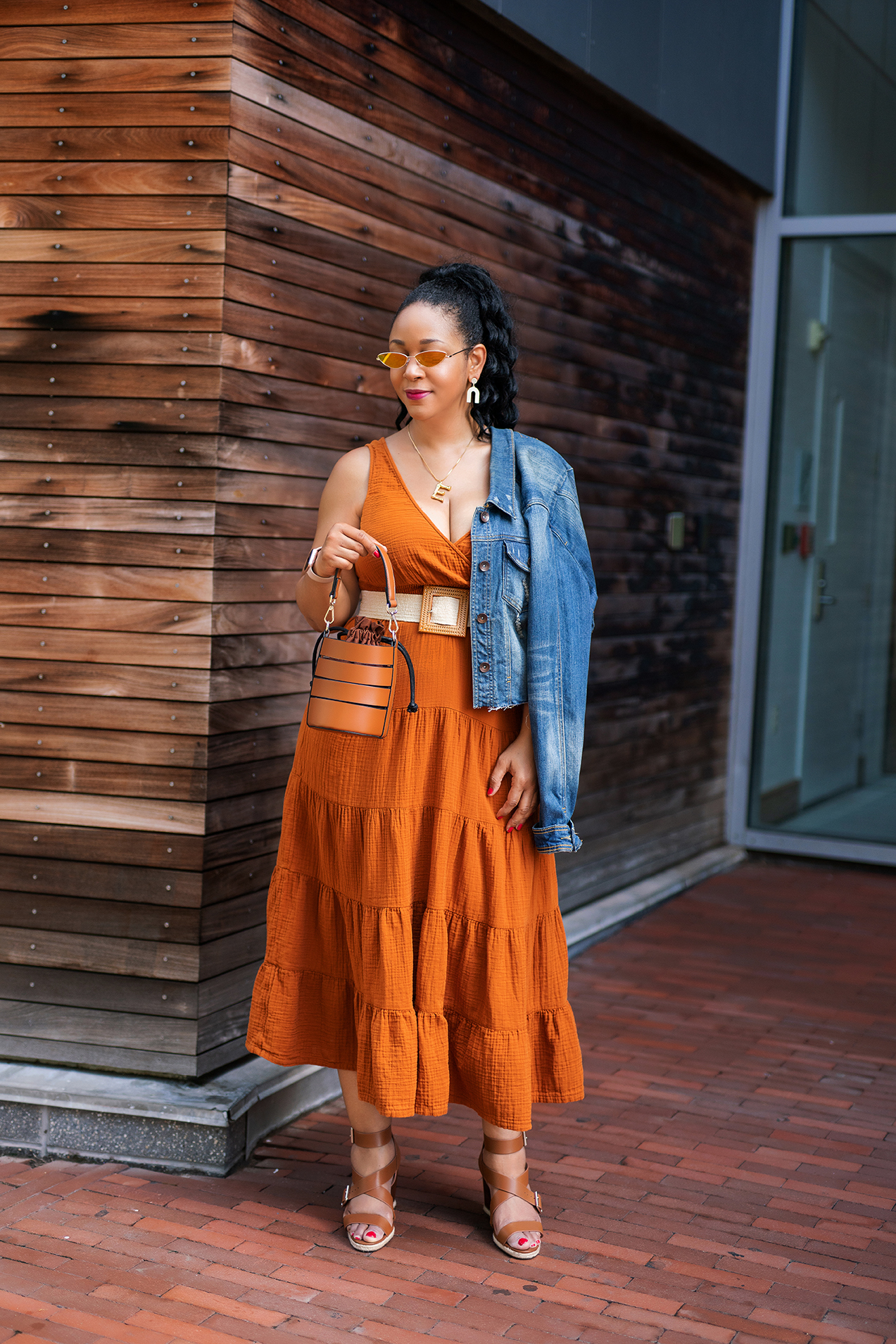 Pumpkin Spice and Everything Nice: What I'm Wearing: Women's Cateye Sunglasses - Wild Fable™ Gold, Women's Sleeveless Tiered Dress - Universal Thread™, Eva Mendes Collection Cutout Bucket Bag, Essex Lane Finnet Wedge Sandal