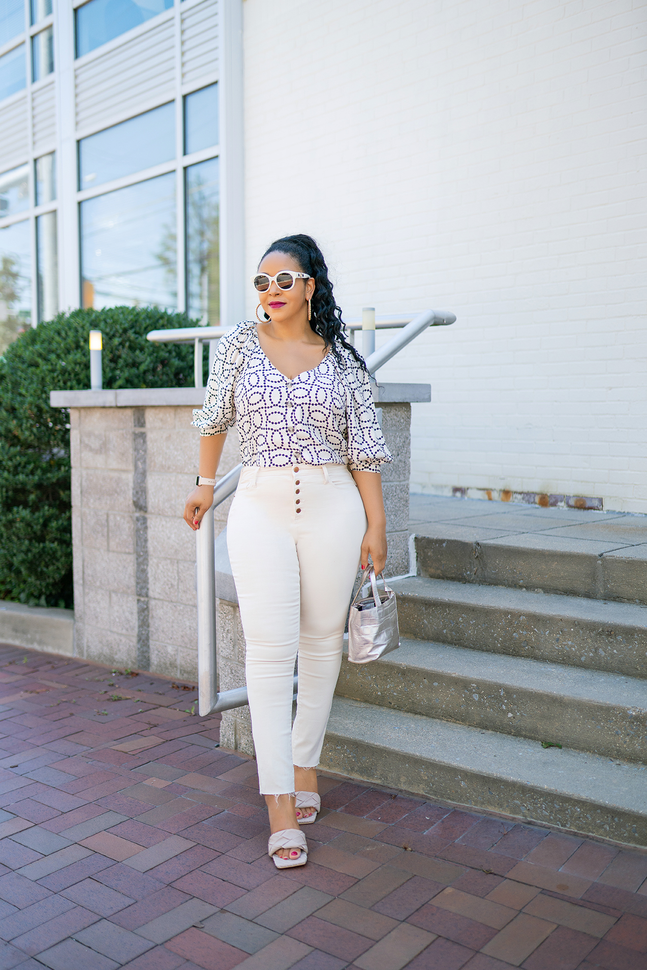 Work From Home Wear, What I'm Wearing: H&M Puff-sleeved print button front blouse, Universal Thread High-Rise Skinny Ankle Jeans, Gucci white pearl frame sunglasses, Open Toe Diamond Band Stiletto Mule Heels, Furla Mini Tote Bag, What's Haute