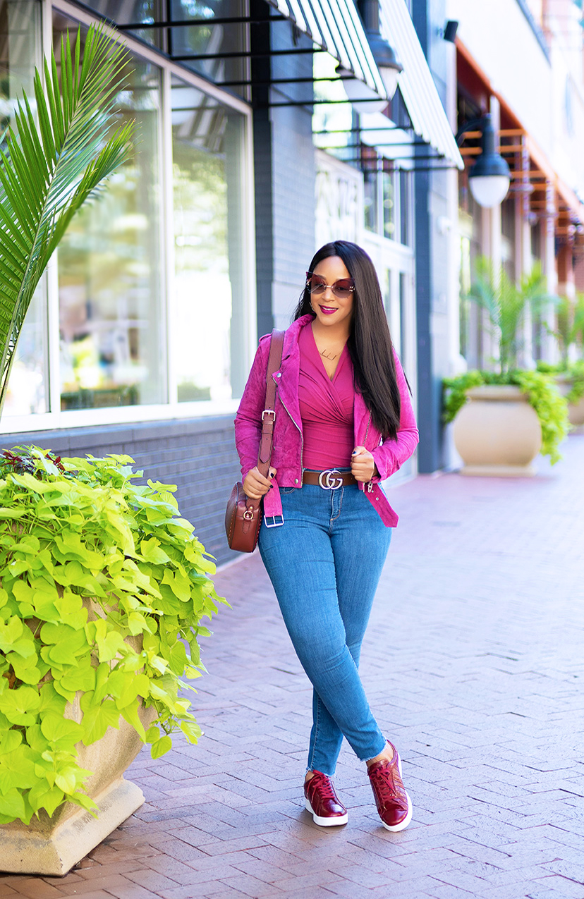 My Fall Favorite: FitFlop's Stylish and Comfy Sneakers, Fitflop Rally Croc-Embossed Leather Sneakers, BLANKNYC pink suede jacket, Universal Thread high-rise jeans, Peruvian Connection Cyprus Pima Cotton wrap Top, Gucci belt, butterfly sunglasses