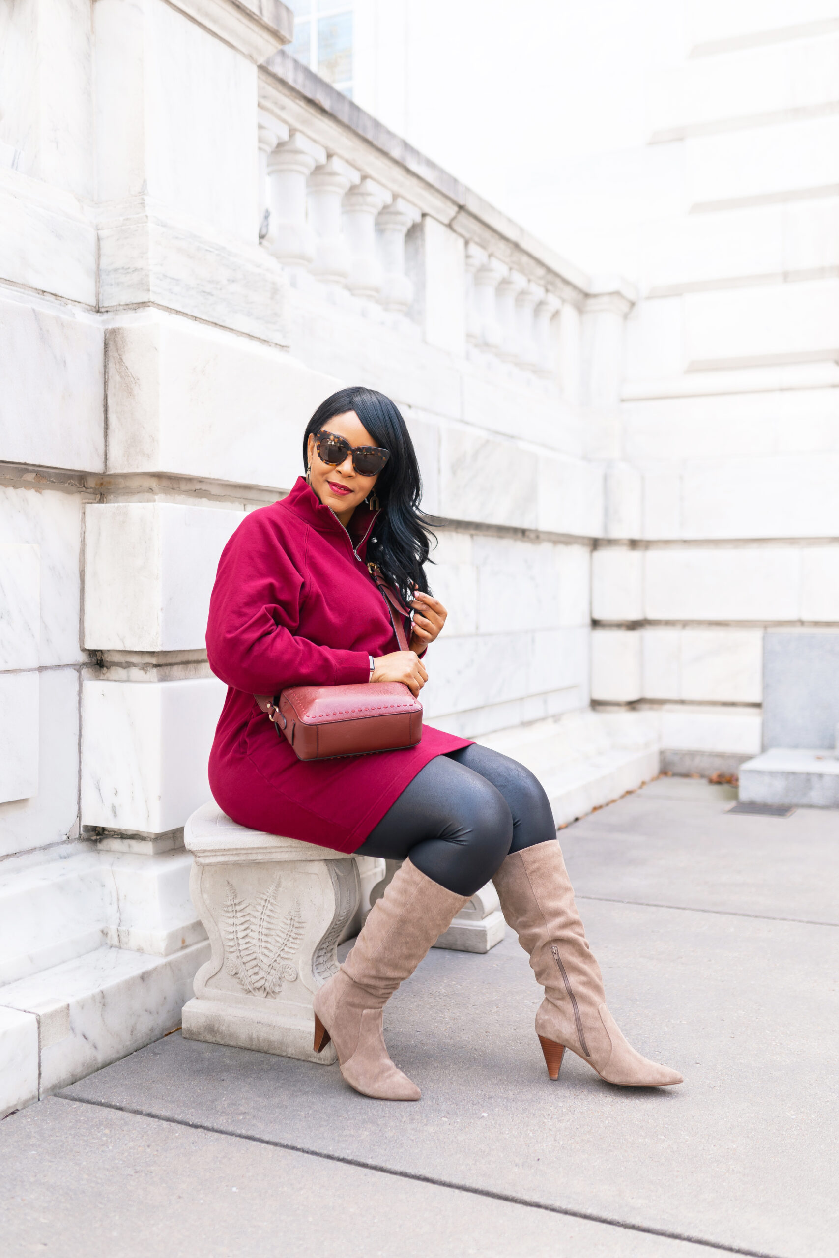 Three Ways to Wear Faux Leather Leggings, What I'm Wearing: Army Jacket, Half-Zip Front Dress, Suede Slouch Boots