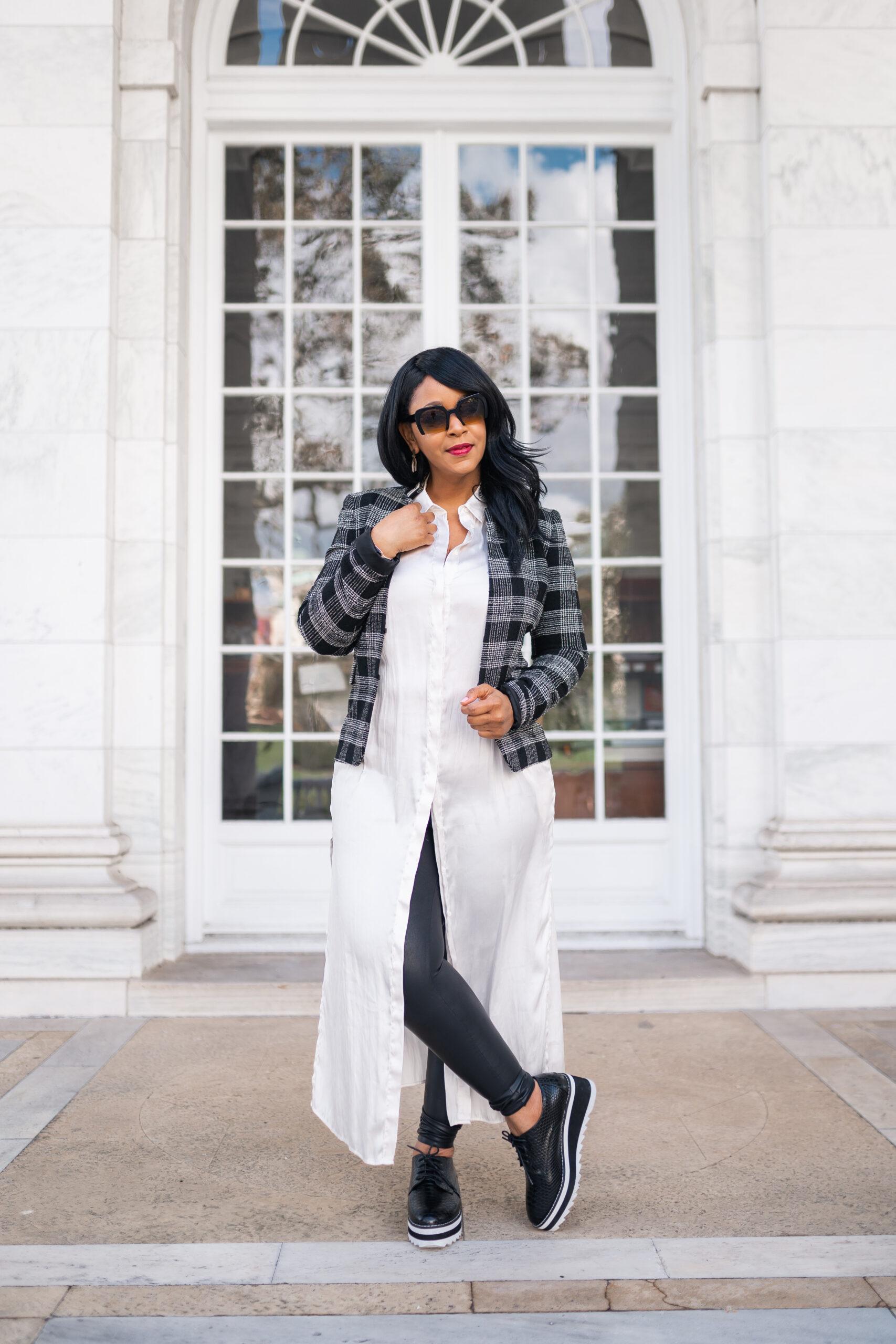 Three Ways to Wear Faux Leather Leggings, What I'm Wearing: Alice + Olivia Women's Black Harris Told You So Plaid Blazer, Satin Maxi Shirt, Snake Madden Girl Marshall Flatform Lug Sole Oxfords