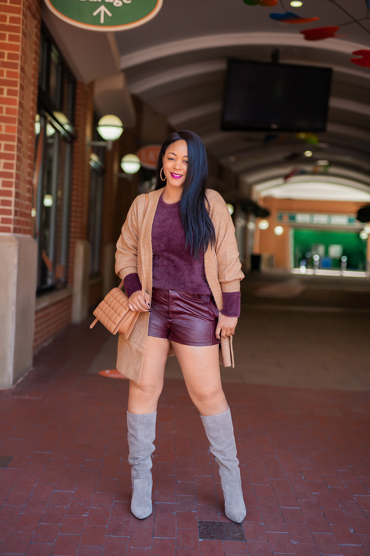 What's Haute, Style staples, What I'm Wearing: H&M Long Cardigan, Old Navy Burgundy Fluffy Sweater, ASOS Leather Shorts, Gap Brown Tall Slouchy Suede Boots, H&M Quilted Shoulder Bag