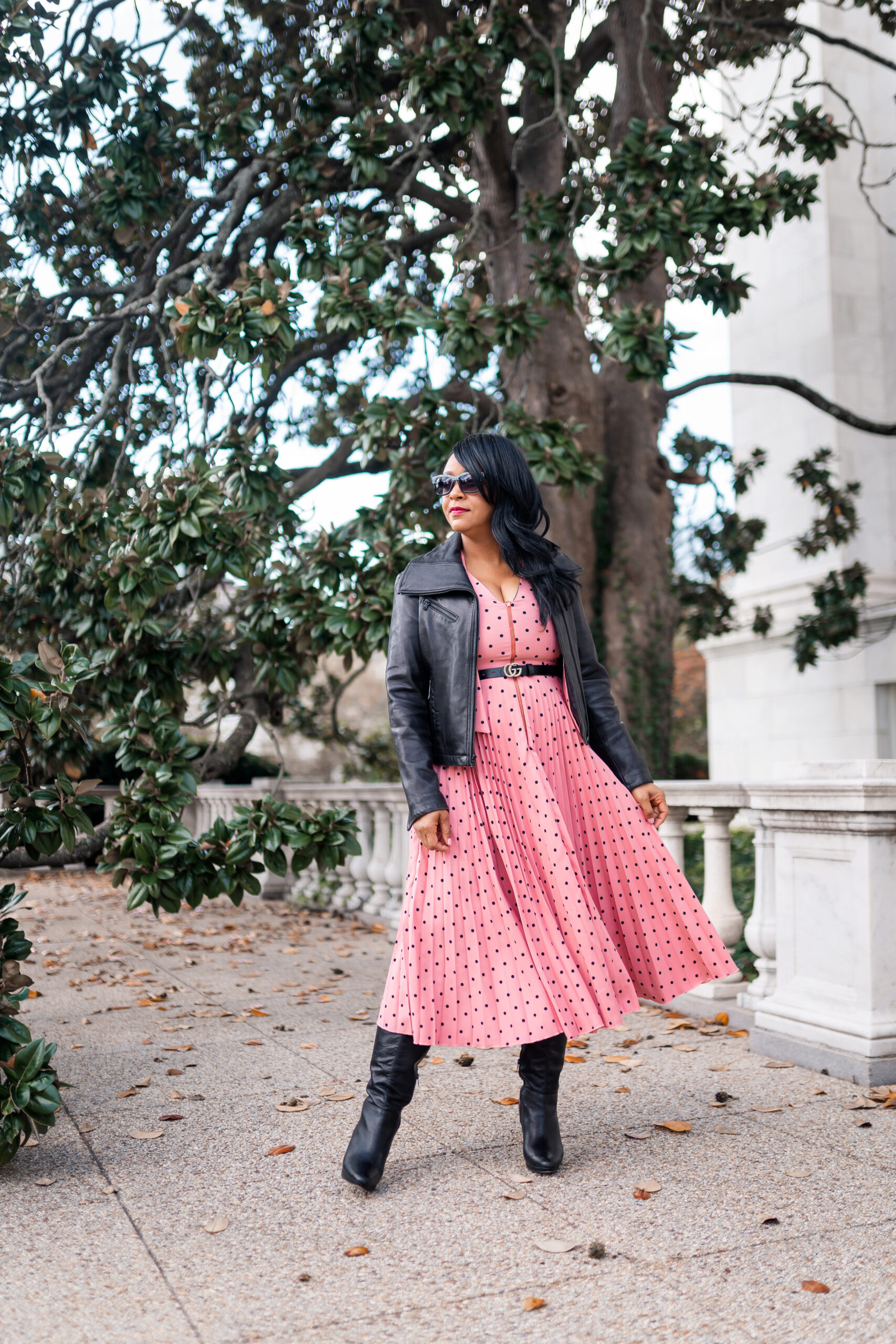 Trying New Things this New Year, 2021, What I'm Wearing: Closet London GOLD Rose Polka Dot Pleated Midi Dress, DSW Boots, Kenneth Cole New York Leather moto jacket, Gucci belt