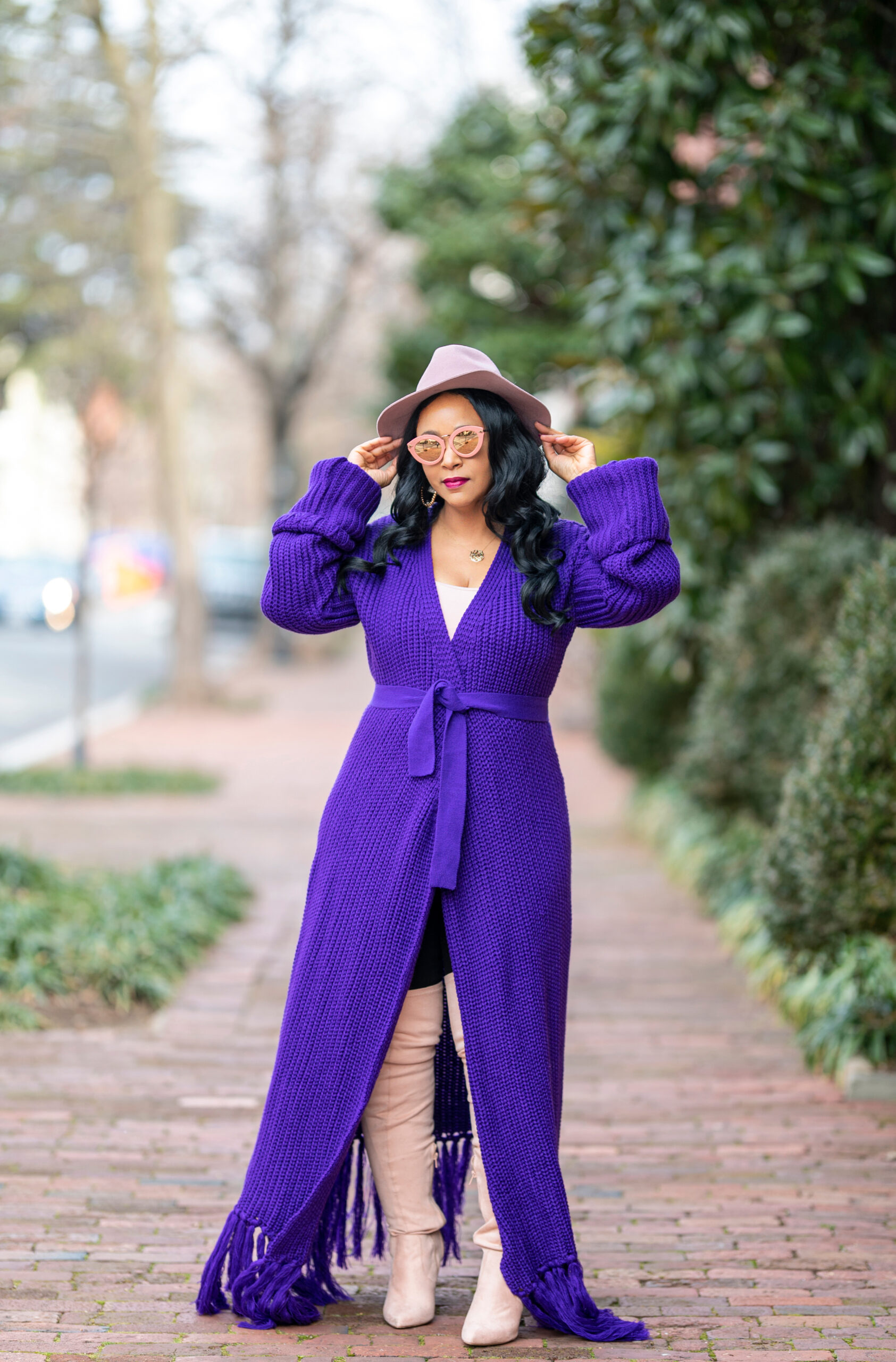 What I'm Wearing: The Color Purple, 2021 Inauguration inspiration, Hanifa Miya Knit Cardigan Dress, Forever 21 pink suede look over the knee boots, Banana Republic Fedora