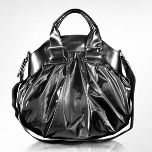 Luana Maule' Black Nylon and Leather Satchel Bag
