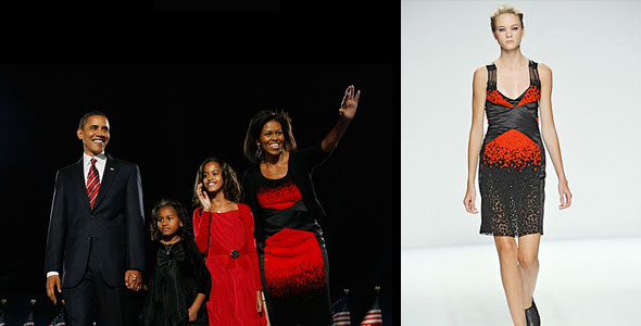 What's Haute Mag - michelle obama narciso rodriguez black red ombre election day dress spring 2009