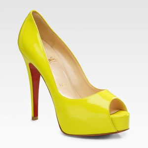 Christian Louboutin - Fluorescent Yellow Hyper Prive Peep-Toe Pumps