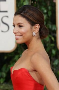 eva longoria clip-on earrings to the Golden Globes
