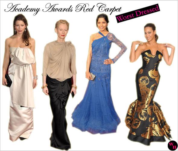 Oscars Red Carpet 2009 Jessica Biel Tilda Swinton Beyonce Freida Pinto