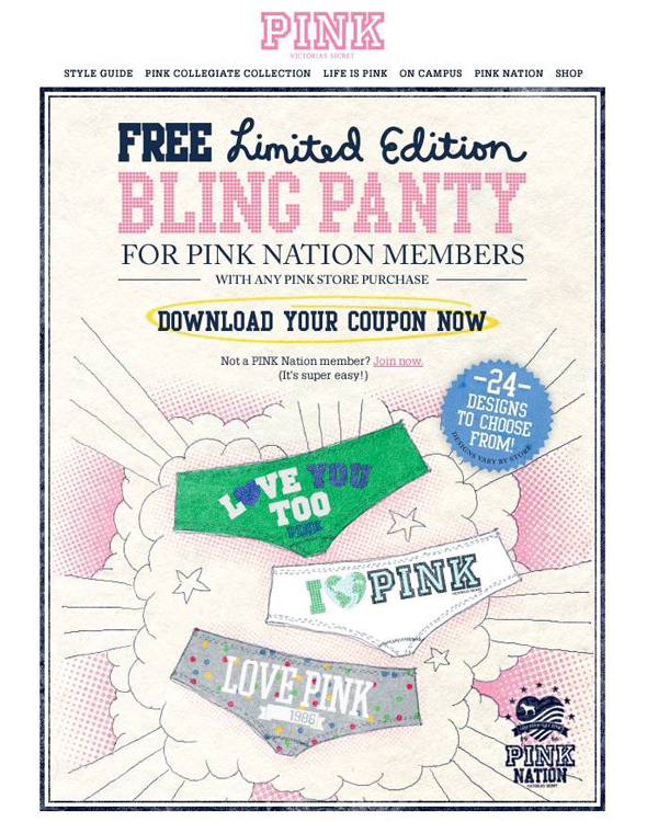 Victoria's Secret PINK Nation free bling panty