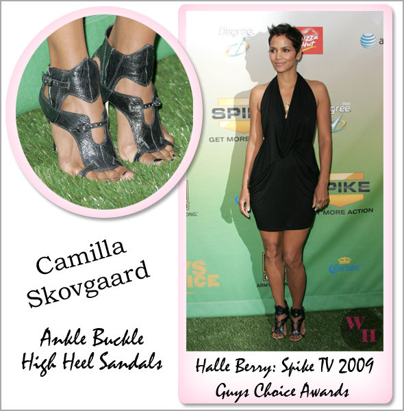 Halle Berry wins Decade of Hotness award at Spike TV's 2009 Guys Choice Awards wearing Riller & Fount Devi Drape Front Halter Mini in Black and Camilla Skovgaard Ankle Buckle High Heel Sandals