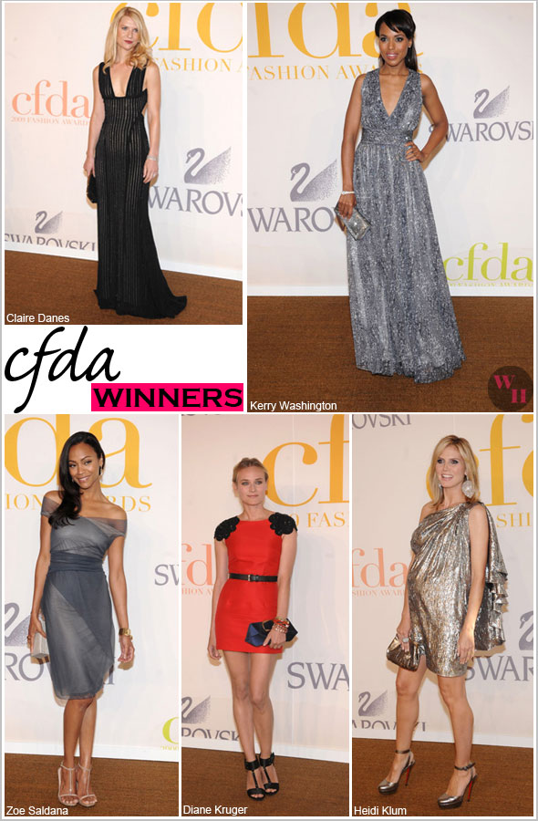 CFDA Council of Fashion Designers of America awards Claire Danes in Narciso Rodriguez Kerry Washington in Doo.ri Zoe saldana in Calvin Klein Diane Kruger in Jason Wu Heidi Klum in Michael Kors