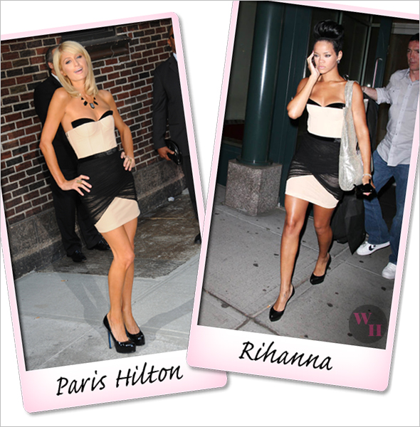 Who rocked it hotter Rihanna and Paris Hilton face off with the Alexander Wang Corset dress ysl trib too jil sander pumps erva razza tote house of harlow resin necklace