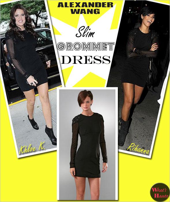 Rihanna Khloe Kardashian alexander Wang black slim grommet dress padded shoulders
