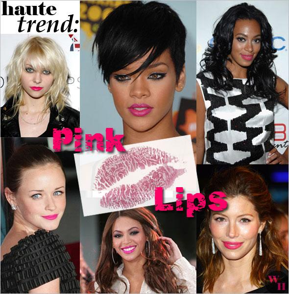 hot pink lip stick rihanna taylor momsen beyonce knowles solange jessica biel alexis bledel