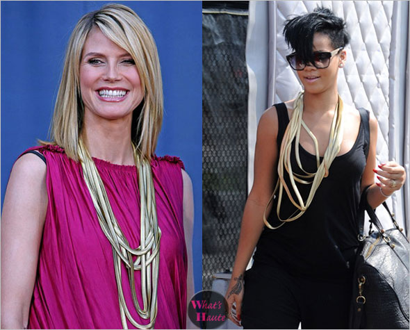 Martin Grant Long Flat Snake Chain Necklace as seen on Heidi Klum & Rihanna