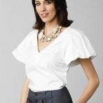 Kristin Davis collection belk poplin v-neck blouse