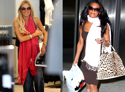 Lindsay Lohan and former Spice Girl Melanie Brown (aka Mel B.) love quotes scarves