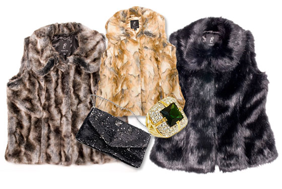 rachel zoe collection qvc NYFW new york fashion week show faux fur vests jewelry rings bags clutches