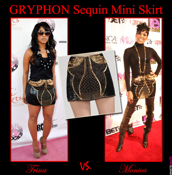 Who Rocked it Hotter Trina vs. Monica in the Gryphon Sequin Mini Skirt