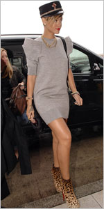 rihanna marc jacobs sweatshirt dress grey Christian Louboutin Miss Clichy 140 ankle boots
