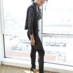 amerie in elle magazine CL sequin jacket Rag & Bone leggings, T by Alexander Wang tank