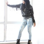 amerie in elle magazine Alexander Wang fringe top Jet jeans Alexander Wang boots Pamela Love daggers