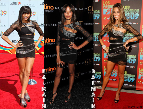 LeToya Luckett Selita Ebanks Victoria's Secret model Alessandra Ambrosio Balmain Fall 2008 Cut-Out Lace Dress