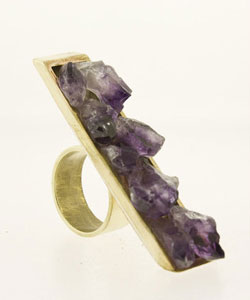 Ken and Dana Design street-inspired natural rough amethyst ring