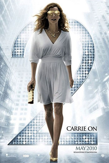 First look at the Sex and The City 2 movie poster Carrie Bradshaw Halston Heritage Dress, Mykita & Bernhard Willhelm Franz Limited-Edition Aviator Sunglasses at Patricia Field, gold necklace by Solange Azagury-Partridge and Gold Sequinned Louboutin Pigalle Pumps and Chanel clutch
