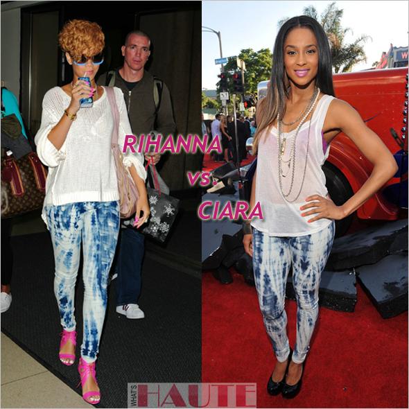 Who rocked it hotter: Rihanna vs. Ciara in the Charley 5.0 Skinny Mini Tie Dye Legging Jean