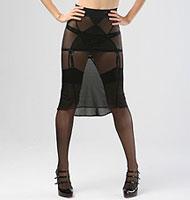 Made by Niki Sheer Sexy Secretary Skirt Black Mesh & Lace