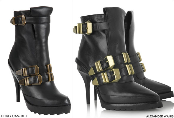 Jeffrey Campbell Morrow Bootie in Black vs. Alexander Wang buckled leather ankle boots