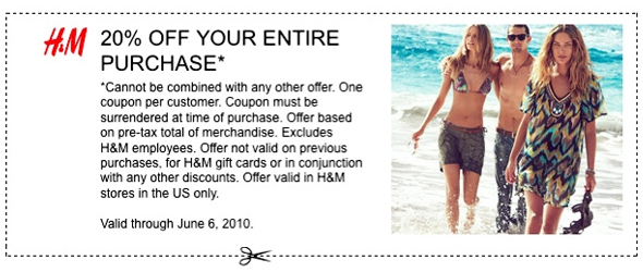 H&amp;M 20% off coupon this Memorial Day weekend