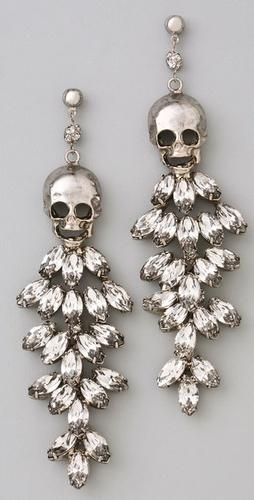 Unique bridal buy: Tom Binns Tough Chic Skull & Rhinestone Earrings