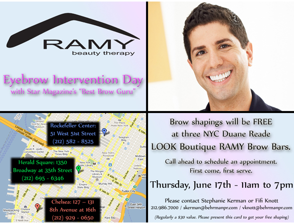 Ramy Gafny hosts hosts Eyebrow Intervention Day - get a free brow shaping at any New York City Duane Reade LOOK Boutique RAMY Brow Bars