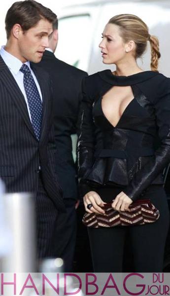 Bags on set: Blake Lively Sam Page with Kotur 'Jensen Ayers' snakeskin semi-precious stone chevron clutch in multi-burgundy filming Gossip Girl season 4