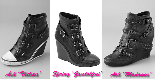 cae89a614d1a Who did it better  Ash vs. Spring Shoes black wedge sneaker bootie ...