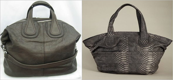 Givenchy Nightingale vs. BCBGeneration Lulu satchels grey snakeskin python