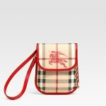 Burberry Check Grainy Leather Lipstick Pouch