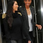 Ciara and Kim Kardashian Christian Louboutin Alta Bouton ankle boots and a Chanel quilted handbag Balmain Cotton-canvas studded military blazer, Giuseppe Zanotti crystal-embellished suede boots and a Givenchy Nightingale bag